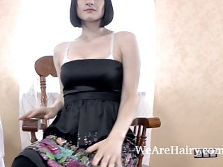 Xxx undressing Alina h undresses and masturbates on wooden chair