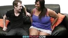 Busty ebony plumper spreads legs for white cock