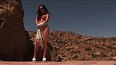 Naked Pinay beauty's bronze skin glows in the desert sun