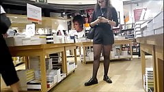 Very Hot Babe Whit Sexy Black Pantyhose in Bookshop CANDID