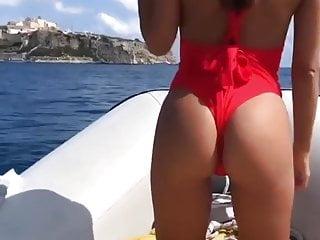 Bikini woman with binoculars on boat Teen nice ass on boat