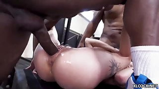 Chloe Temple is being fucked by three black studs