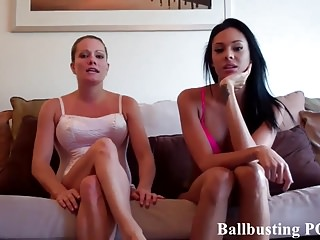Sexy ballbusting smacking mens balls - We are going to take turns smacking your balls