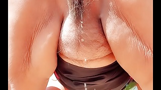 Naked & peeing on side of road. Mature bbw Latina woman