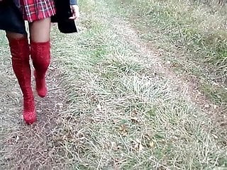 Boot fetish japanese leather Red leopard print boots, school girl skirt and leather cloak