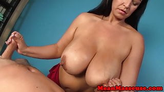 Hugetitted masseuse tugs clients cock