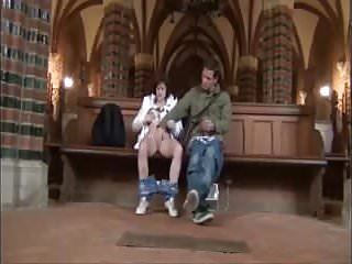 Fucking in a church Couple sex play in a church