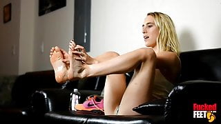 Cadence Lux Oils Up Her Feet Before Foot Fucking A Big Dick!