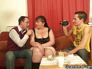 Amateur busty mature women - Busty old women swallows two cocks