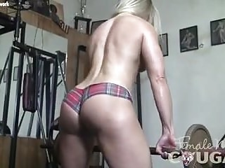 Naked blond woman Naked female bodybuilder cougar claire in schoolgirl panties