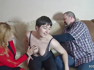 Small tits mature ffm - Fat guy at first ffm threesome with wife and big tits mature