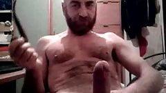 Big dick daddy bear cumming again