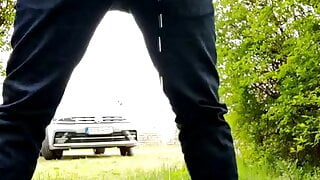 Pissing and a wank