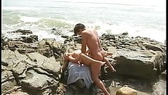 Guy gets his hard cock on the beach by sexy blonde babe
