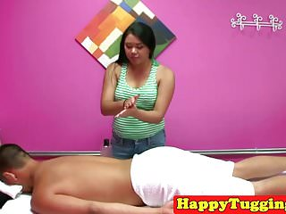 Massage tips for facial massages Busty asian masseuse tugging client for tip