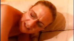Anal and hot cum on her glasses
