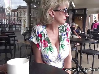 Sonias tits - Lady sonia flashes in public then sucks a cock