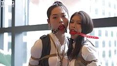 tying art 2 girls waitress