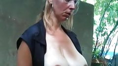 Flash and then Cum in the mouth of pregnant mature women