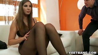 Conny does footjob in pantyhose