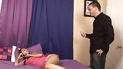 Cute chick with small tits and pigtails sucks cock and gets shaved cunt fucked