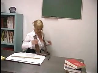 Breast cancer awareness nylon fabric material - Mature blond with enormous breasts screwed by student in the classroom