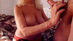 Granny neighbour get massive cumshot all over her body
