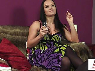 Porn subject finder Stockinged femdom voyeur teasing her subject