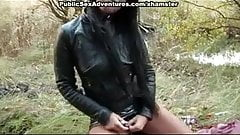 Flashing sexy tits and taking hard dick outdoors