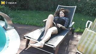 Horny amateur mommy masturbating outdoors