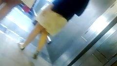 upskirt cute girl on escalator