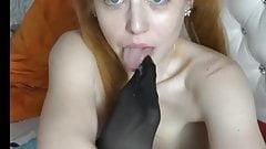 Girl with braces deep throats dildk