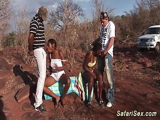 African safari porn African sex safari threesome orgy