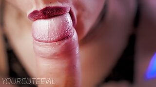 Gentle blowjob and close-up licking