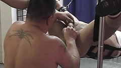 Gay man bound and toy fucked