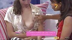 Latina gets her big milky tit fondled by older TV hostess