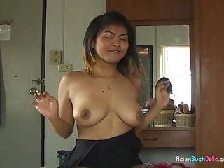 Hot brown tits Thai bar girl with big brown tits sucks white cock