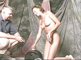 Shocking electric sex - Busty brunette has wild time on electric sybian