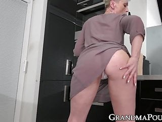 Mature short hair granny Solo short haired grandma uses sex toys on her old pussy