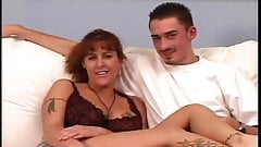 Milf tattoed gives interview and get fucked by young dick