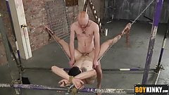 Kieron Knight riding Timmy Treasure tight ass on the hammock