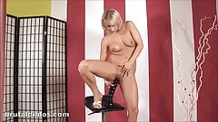 Hot blonde takes a massive brutal dildo super deep