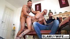 Sexy MILF takes a fat cock with her husband in the room