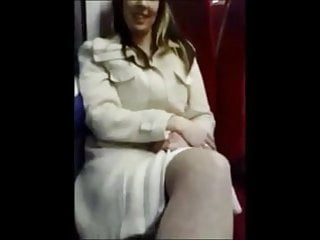 Forceful blow job British girl fingered and gives a blow job on train