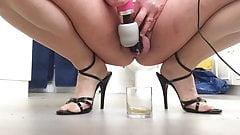 pvcsissy drinks piss enema with cum