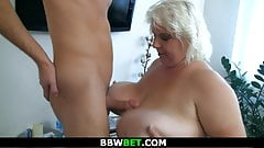 He doggy-fucks shaved pussy blonde BBW
