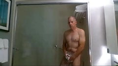 daddy takes a shower in a hotel