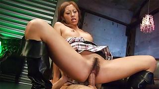 Japanese blonde, Jun Asami is riding a hard dick, uncensored