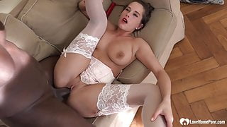 Sexy girl in white loves his black cock