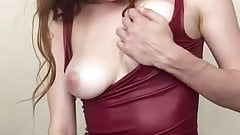 Brunette Dildoing in a tight red dress